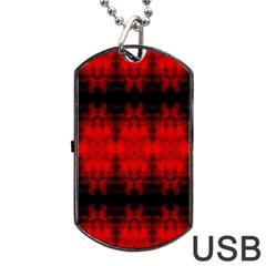 Red Black Gothic Pattern Dog Tag USB Flash (Two Sides)  by Costasonlineshop