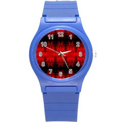 Red Black Gothic Pattern Round Plastic Sport Watch (s) by Costasonlineshop