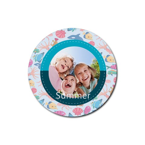 Summer By Summer Time    Rubber Round Coaster (4 Pack)   0cmv70g0c2gv   Www Artscow Com Front