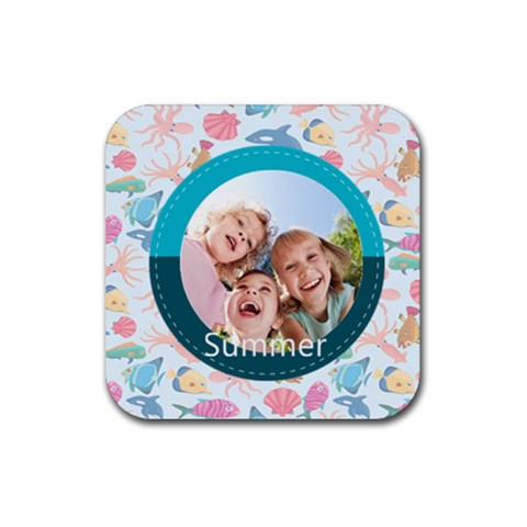 Summer By Summer Time    Rubber Square Coaster (4 Pack)   U2t12p3uuvke   Www Artscow Com Front