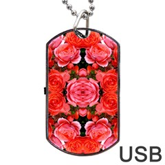 Beautiful Red Roses Dog Tag Usb Flash (one Side) by Costasonlineshop