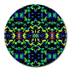 Cool Green Blue Yellow Design Round Mousepads by Costasonlineshop