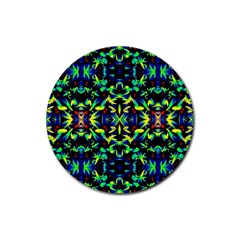 Cool Green Blue Yellow Design Rubber Coaster (round)  by Costasonlineshop