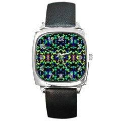 Cool Green Blue Yellow Design Square Metal Watches by Costasonlineshop