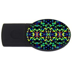 Cool Green Blue Yellow Design Usb Flash Drive Oval (4 Gb)  by Costasonlineshop