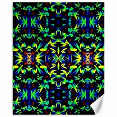 Cool Green Blue Yellow Design Canvas 11  X 14   by Costasonlineshop