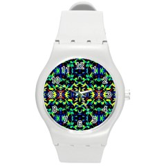 Cool Green Blue Yellow Design Round Plastic Sport Watch (M) by Costasonlineshop