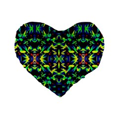 Cool Green Blue Yellow Design Standard 16  Premium Heart Shape Cushions by Costasonlineshop