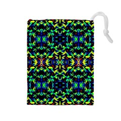 Cool Green Blue Yellow Design Drawstring Pouches (large)  by Costasonlineshop