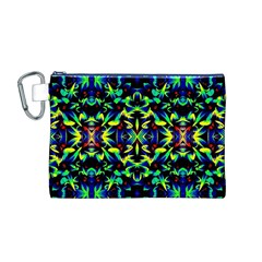 Cool Green Blue Yellow Design Canvas Cosmetic Bag (m) by Costasonlineshop