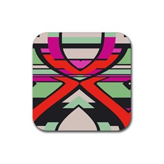 Shapes In Retro Colorsrubber Square Coaster (4 Pack by LalyLauraFLM