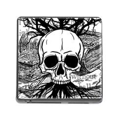 Skull & Books Memory Card Reader (square) by waywardmuse