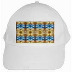 Gold And Blue Elegant Pattern White Cap by Costasonlineshop