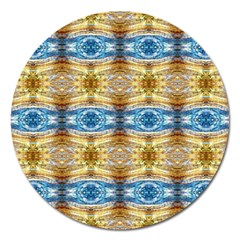 Gold And Blue Elegant Pattern Magnet 5  (round) by Costasonlineshop