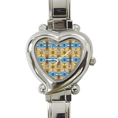 Gold And Blue Elegant Pattern Heart Italian Charm Watch by Costasonlineshop