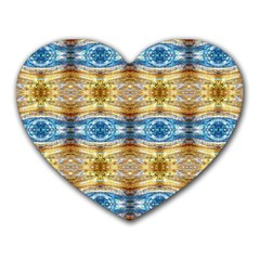 Gold And Blue Elegant Pattern Heart Mousepads by Costasonlineshop