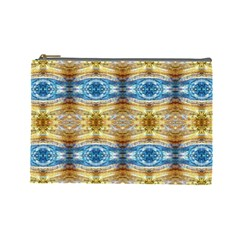 Gold And Blue Elegant Pattern Cosmetic Bag (Large)  by Costasonlineshop