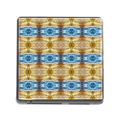 Gold And Blue Elegant Pattern Memory Card Reader (square) by Costasonlineshop