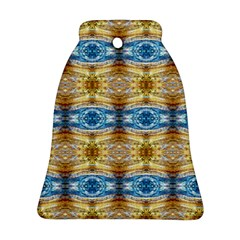 Gold And Blue Elegant Pattern Ornament (bell)  by Costasonlineshop