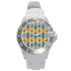 Gold And Blue Elegant Pattern Round Plastic Sport Watch (l) by Costasonlineshop