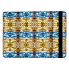 Gold And Blue Elegant Pattern Samsung Galaxy Tab Pro 12 2  Flip Case by Costasonlineshop