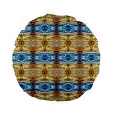 Gold And Blue Elegant Pattern Standard 15  Premium Flano Round Cushions by Costasonlineshop