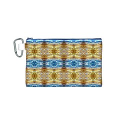 Gold And Blue Elegant Pattern Canvas Cosmetic Bag (S) by Costasonlineshop