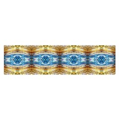 Gold And Blue Elegant Pattern Satin Scarf (oblong) by Costasonlineshop