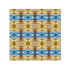 Gold And Blue Elegant Pattern Small Satin Scarf (Square)  by Costasonlineshop