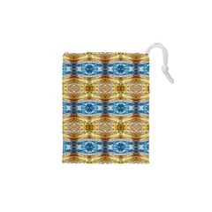 Gold And Blue Elegant Pattern Drawstring Pouches (xs)  by Costasonlineshop