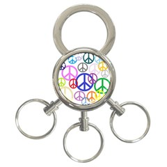 Peace Sign Collage Png 3 Ring Key Chain by StuffOrSomething