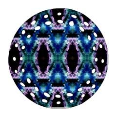 Blue, Light Blue, Metallic Diamond Pattern Round Filigree Ornament (2side) by Costasonlineshop