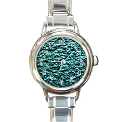 Blue Green  Wall Background Round Italian Charm Watches by Costasonlineshop