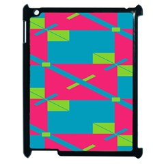 Rectangles And Diagonal Stripesapple Ipad 2 Case (black) by LalyLauraFLM