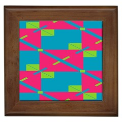 Rectangles And Diagonal Stripes			framed Tile by LalyLauraFLM