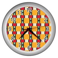 Rectangles And Squares Patternwall Clock (silver) by LalyLauraFLM