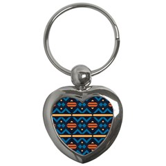 Rhombus  Circles And Waves Pattern			key Chain (heart) by LalyLauraFLM