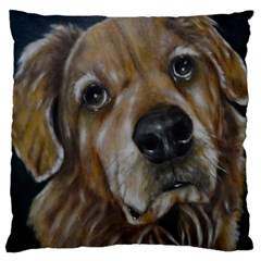 Selfie Of A Golden Retriever Large Flano Cushion Cases (two Sides)  by timelessartoncanvas