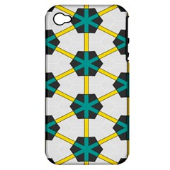 Blue Stars And Honeycomb Patternapple Iphone 4/4s Hardshell Case (pc+silicone) by LalyLauraFLM