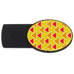Red Brown Triangles Pattern			usb Flash Drive Oval (4 Gb) by LalyLauraFLM