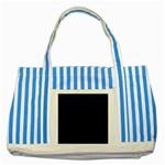 Black Gothic Striped Blue Tote Bag