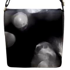 Black And White Circle Flap Messenger Bag (s) by timelessartoncanvas