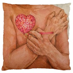 Embrace Love  Large Flano Cushion Cases (one Side)  by KentChua