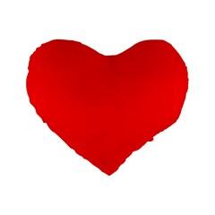 Trendy Red  Standard 16  Premium Flano Heart Shape Cushions by Costasonlineshop