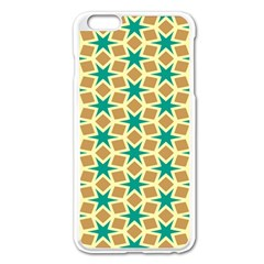 Stars And Squares Patternapple Iphone 6 Plus/6s Plus Enamel White Case by LalyLauraFLM