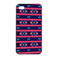 Stripes And Other Shapes Pattern			apple Iphone 4/4s Seamless Case (black) by LalyLauraFLM