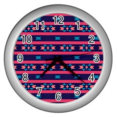 Stripes And Other Shapes Pattern 			wall Clock (silver) by LalyLauraFLM