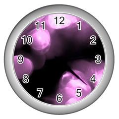 Purple Circles No  2 Wall Clocks (silver)  by timelessartoncanvas