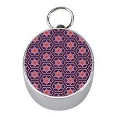 Flowers And Honeycomb Pattern 			silver Compass (mini) by LalyLauraFLM