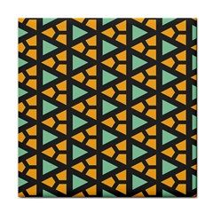 Green Triangles And Other Shapes Pattern 			tile Coaster by LalyLauraFLM